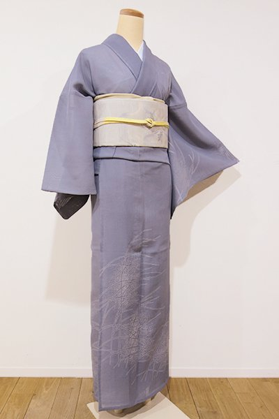 銀座【B-1868】夏塩沢紬地 付下げ 錫色 芒の図
