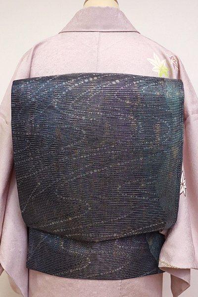 あおき【L-3700】絽 袋帯 黒色 流線文