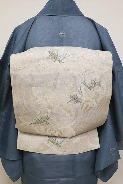 あおき【L-3701】西陣製 紗 袋帯 絹鼠色 網目に秋の虫(証紙付)(N)
