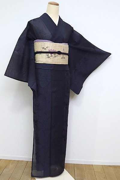 あおき【A-2443】↑Sサイズ↓紗紬 濃藍色 植物の図
