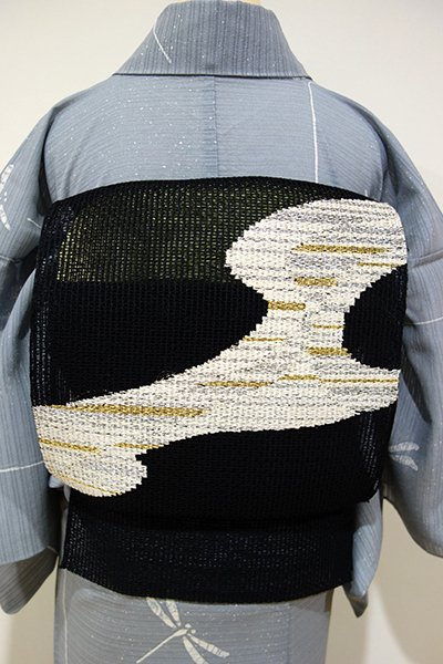 WEB限定【K-5228】捩り織り 開き八寸名古屋帯 黒色 抽象文