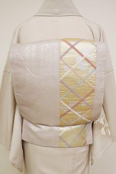 WEB限定【L-3704】絽 袋帯 枯野色 柳に切箔散らし