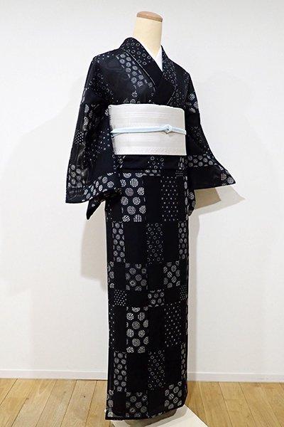 あおき【D-1953】絽 小紋 黒色 市松に水玉文(しつけ付)