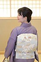 銀座【帯2640】西陣 河合美術織物製 絽袋帯