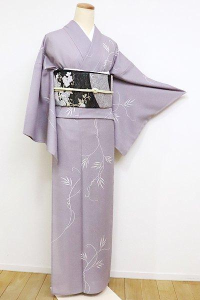 あおき【D-1954】紋紗 小紋 薄色 蔓草の図(しつけ付)