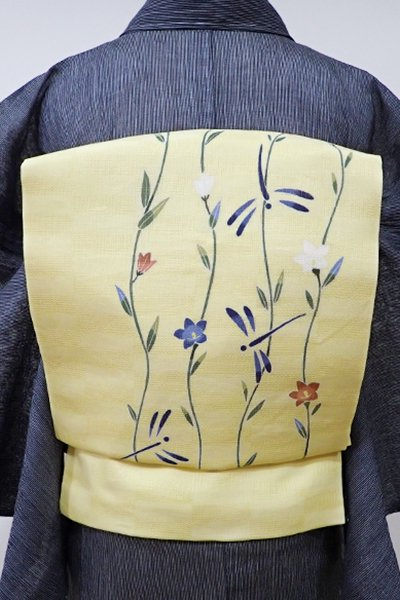 WEB限定【K-5241】麻絽 染名古屋帯 蜂蜜色 花に蜻蛉の図
