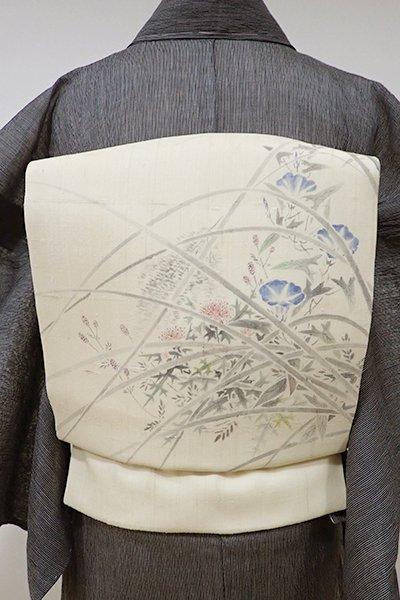 あおき【K-5242】紗紬 染名古屋帯 浅黄色 夏の草花の図