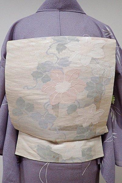 あおき【L-3709】紗 袋帯 淡い一斤染色 鉄線の図