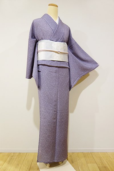 WEB限定【C-719-2】絽 江戸小紋 紫苑色 鮫に雪輪文 (しつけ付・新品)
