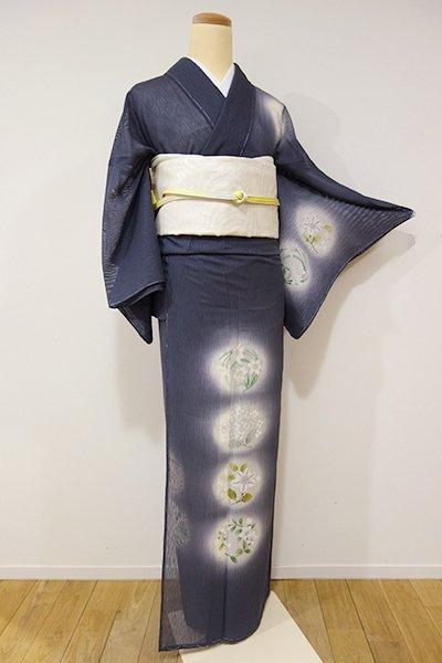 あおき【B-1877】紋紗 染一ッ紋 付下げ 藍鉄色 秋草や紫陽花の図