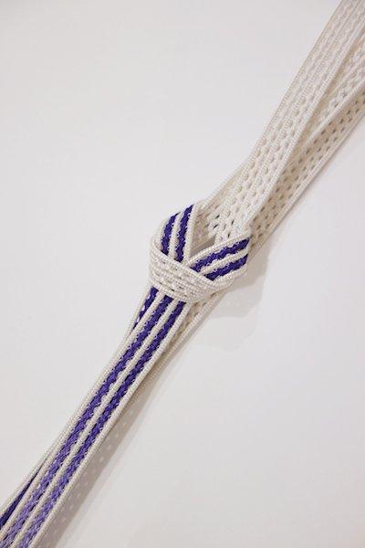 銀座【G-1017】京都 衿秀製 帯締め レース組 暈かし 白色×紺藍色(新品)