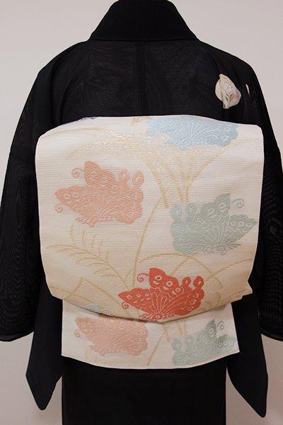 WEB限定【L-3712】絽 袋帯 鳥の子色 芒に揚羽蝶の図