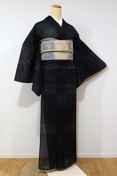 あおき【A-2453】トールサイズ←ユッタリ→ 紗紬 黒色 段替わり縞 (しつけ付)