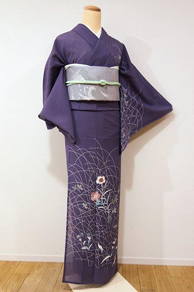 銀座【B-1879】↑Sサイズ↓絽 付下げ 滅紫色 秋草の図