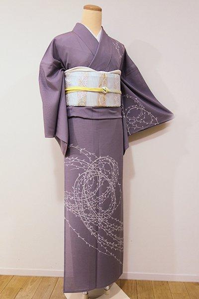 あおき【B-1880】絽 繍一ッ紋 付下げ 薄色 柳の図