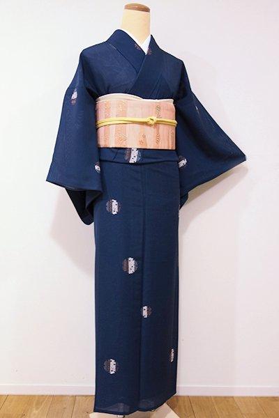 WEB限定【D-1956】↑Sサイズ↓絽 小紋 鉄御納戸色 雪輪文