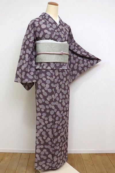 あおき【D-1959】紋紗 小紋 深い鳩羽鼠色 丸文(しつけ付)(N)