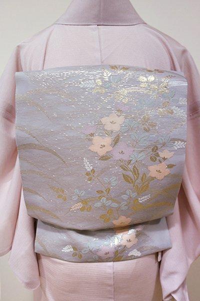 WEB限定【K-5249】絽 織名古屋帯 霞色 秋草の図