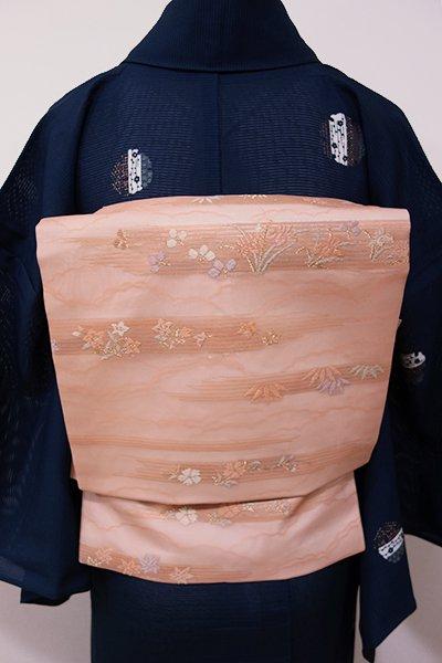 WEB限定【K-5252】紗 織名古屋帯 宍色 霞に四季花の図