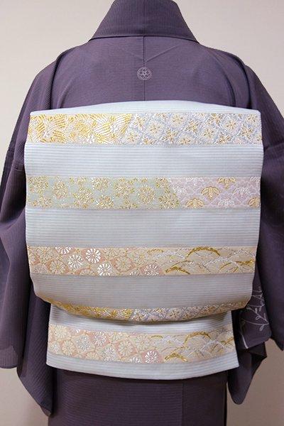 WEB限定【L-3719】西陣製 夏 袋帯 月白色 割付文の横段(証紙付・新品)