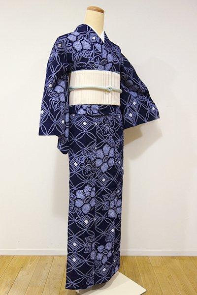 あおき【D-1960】←ユッタリ→絞り 浴衣 濃藍色 七宝に牡丹の図(高島屋扱い)