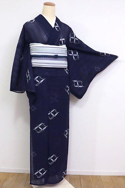 あおき【D-1962】紋紗 小紋 濃藍色 破れ七宝(N)