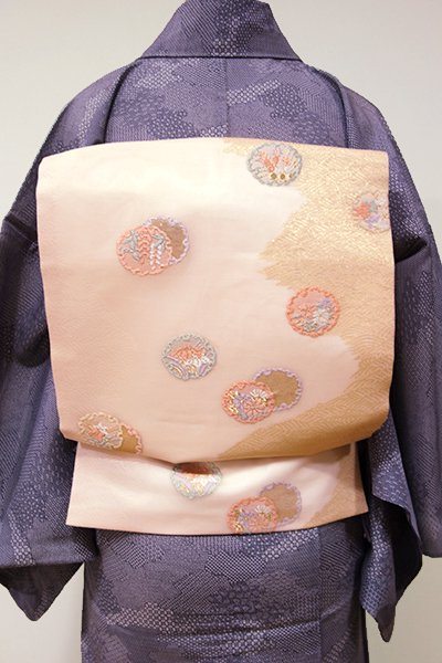 WEB限定【K-5265】紗 織名古屋帯 淡い一斤染色 雪輪文