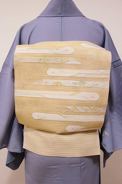 WEB限定【K-5269】絽綴れ 開き八寸名古屋帯 淡い蜂蜜色 横段に宝尽くしなど