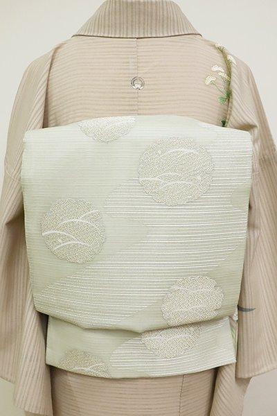 あおき【L-3720】絽 袋帯 白緑色 流水に雪輪の図
