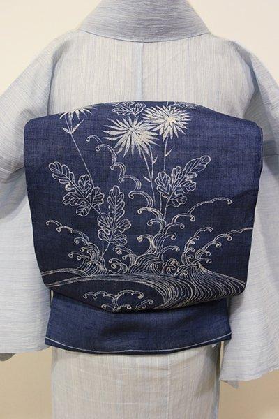 WEB限定【L-3722】麻 洒落袋帯 藍色 波に菊の図(落款入り)