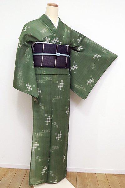 あおき【A-2461】夏琉球絣 濃松葉色 縞に絣文(証紙付)