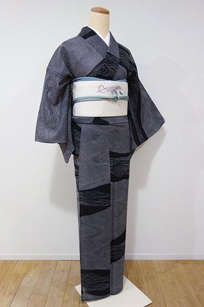 あおき【D-1968】↑Sサイズ↓←ユッタリ→紋紗 小紋 黒色 波文
