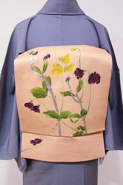 WEB限定【K-5274】二部式付け帯 紋絽地 染名古屋帯 赤香色 小豆の花