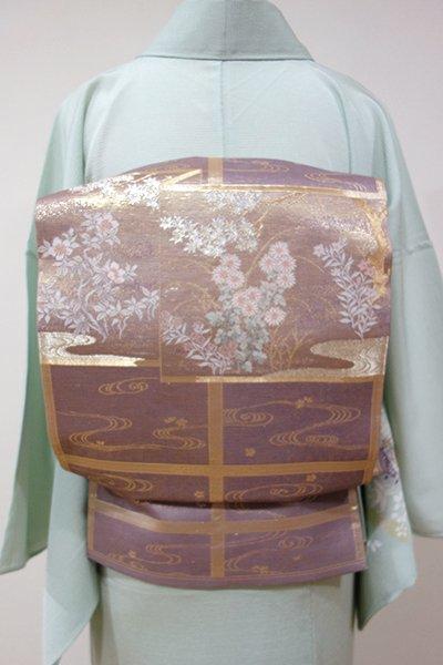 WEB限定【L-3723】絽 袋帯 葡萄鼠色 秋草の屏風図