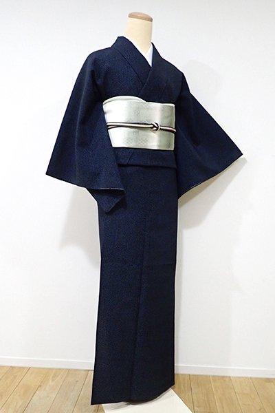 銀座【A-2464】単衣 本塩沢 濃藍色 蚊絣(証紙付)