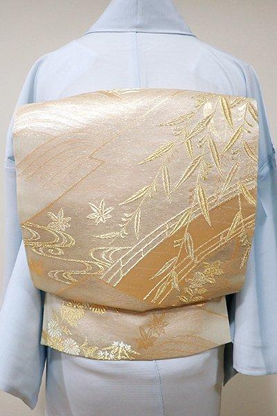 WEB限定【L-3726】絽 袋帯 薄香色 松皮菱に橋に秋草など