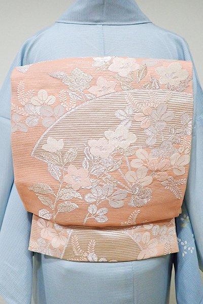 WEB限定【L-3727】絽 袋帯 深い一斤染色 扇に秋草の図
