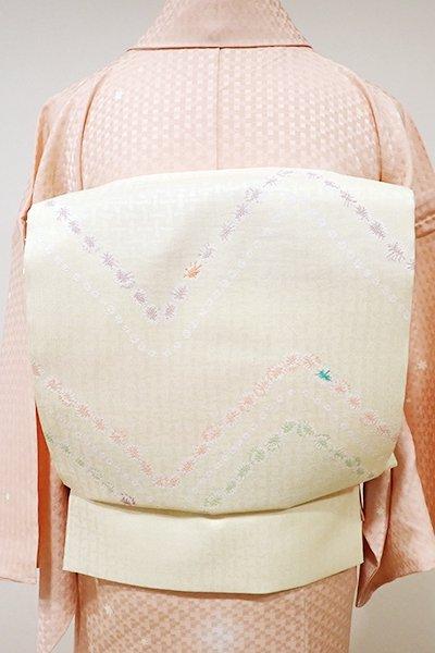 WEB限定【L-3728】西陣 おび弘製 洒落本袋帯 鳥の子色 幾何文(証紙付)