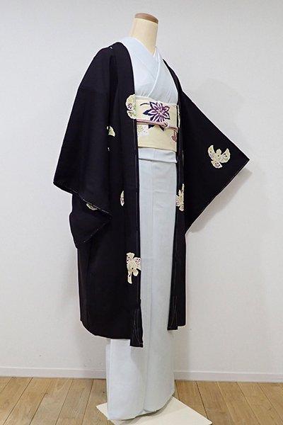 世田谷【E-888】薄物 羽織 黒色 福良雀(しつけ付・新品)