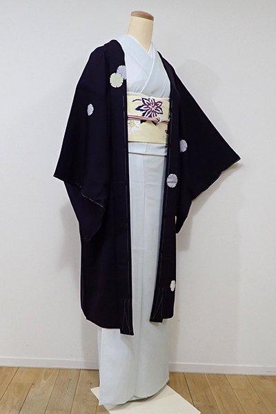 世田谷【E-889】薄物 羽織 滅紫色 雪輪文(しつけ付・新品)