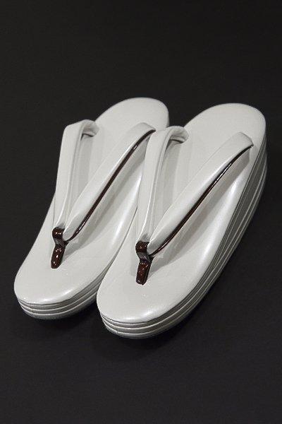 銀座【G-1022】ウェーブ草履 白色×臙脂色 Lサイズ(新品・未使用)
