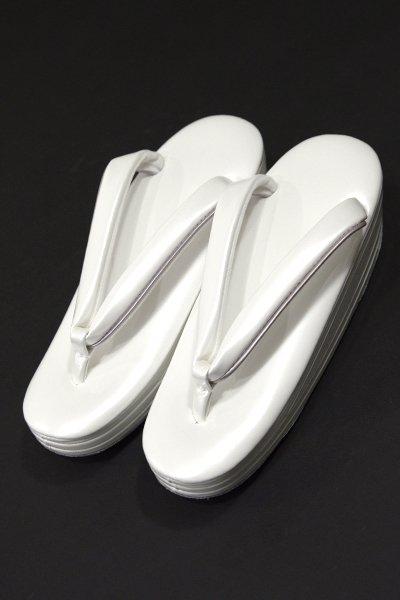 銀座【G-1023-2】ウェーブ草履 白色×薄藤色 Sサイズ(新品・未使用)