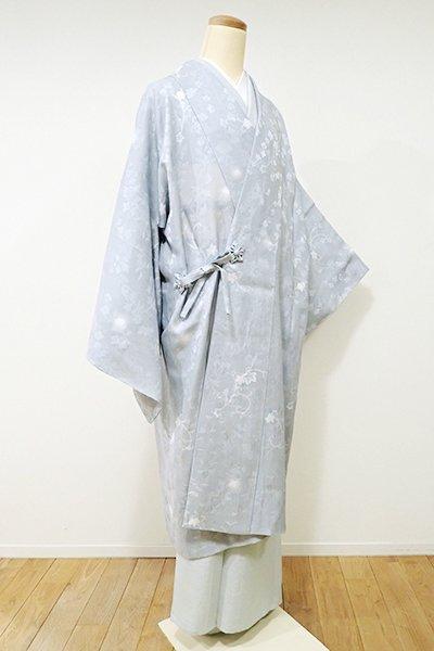 銀座【E-899】紋紗 道中着 灰青色 蔦唐草に蛍暈かし(しつけ付・新品)