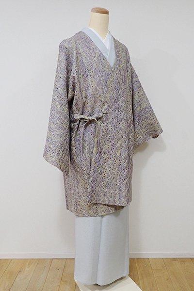 銀座【E-900】組織り 薄物 道中着 藤紫色×淡黄色