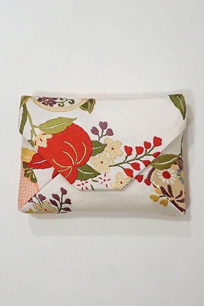 あおき【G-1024】数寄屋袋 白練色 橘に桜の図(新品)