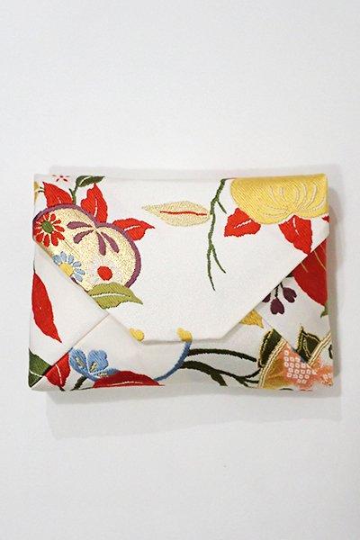あおき【G-1025】数寄屋袋 白練色 橘に桜の図(新品)