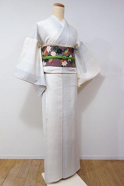 WEB限定【A-2474】↑Sサイズ↓→ホッソリ←単衣 絹しじら 象牙色 小絣の縞