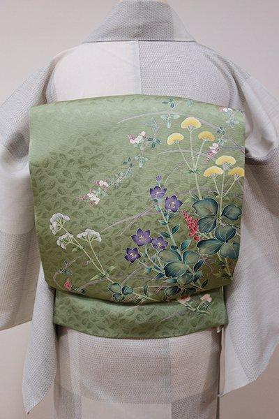 世田谷【K-5290】染名古屋帯 山葵色 秋草の図