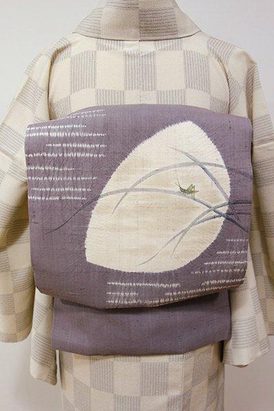 銀座【K-5295】生紬地 絞り染め 名古屋帯 源氏鼠色 きりぎりすの図