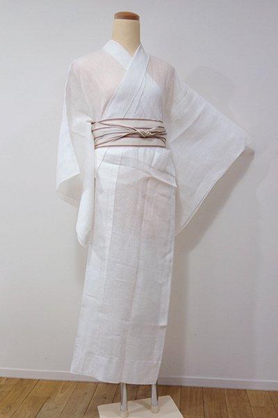 あおき【F-324】麻 紋紗 長襦袢 白色 秋草の地紋